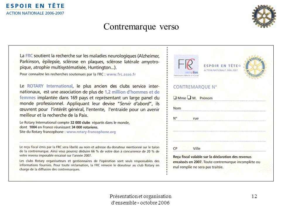 Présentation et organisation d'ensemble - octobre 2006 12 Contremarque verso
