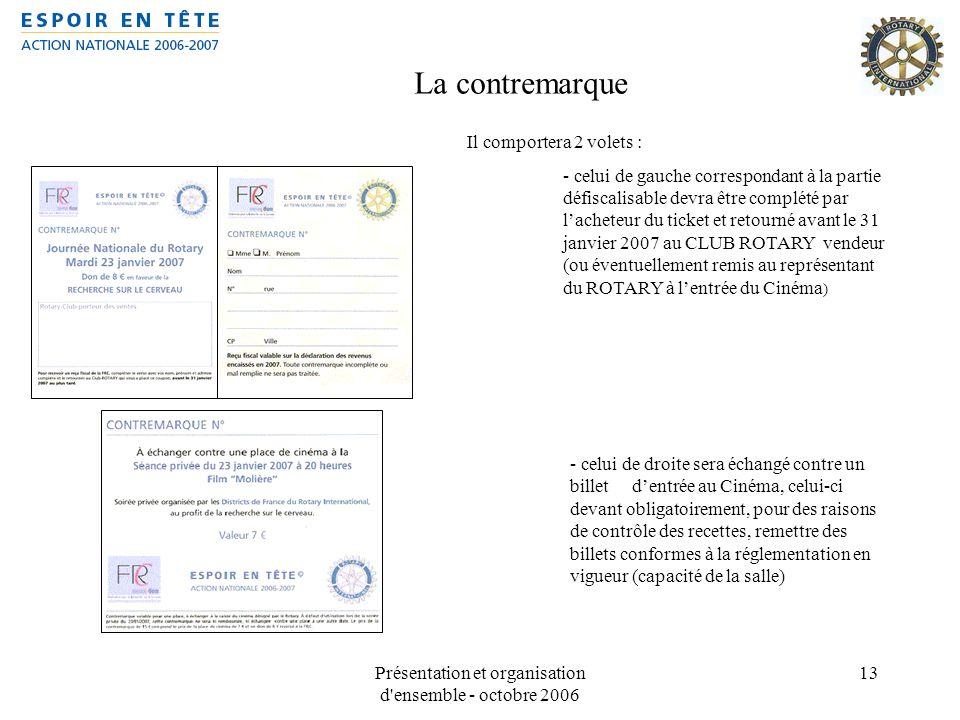 Présentation et organisation d'ensemble - octobre 2006 13 La contremarque Il comportera 2 volets : - celui de gauche correspondant à la partie défisca