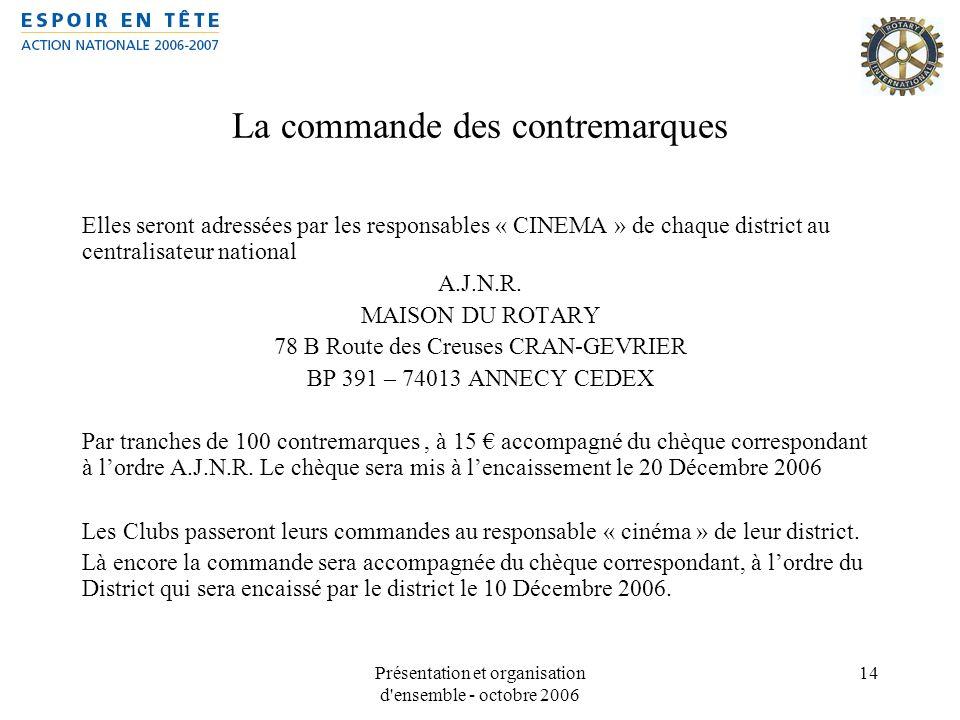 Présentation et organisation d'ensemble - octobre 2006 14 La commande des contremarques Elles seront adressées par les responsables « CINEMA » de chaq