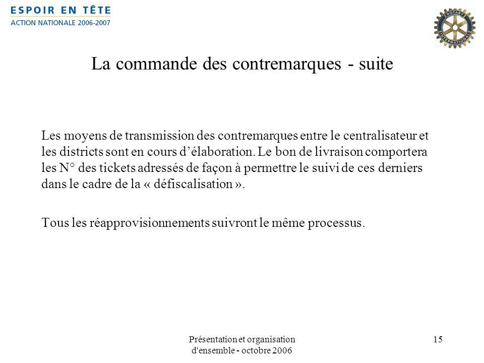 Présentation et organisation d'ensemble - octobre 2006 15 La commande des contremarques - suite Les moyens de transmission des contremarques entre le