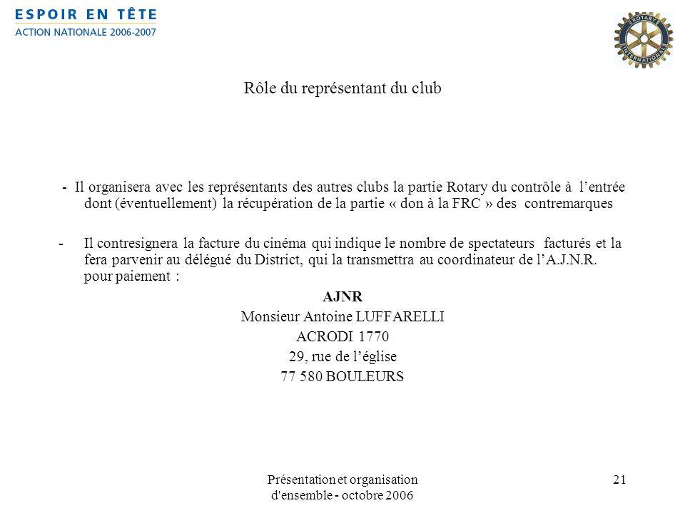 Présentation et organisation d'ensemble - octobre 2006 21 Rôle du représentant du club - Il organisera avec les représentants des autres clubs la part