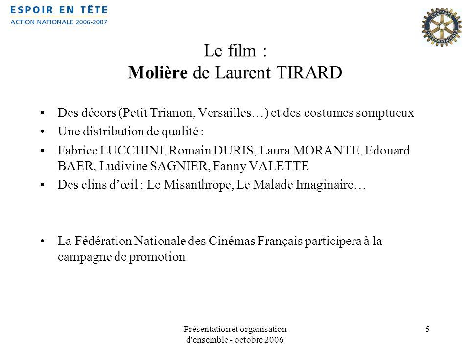 Présentation et organisation d'ensemble - octobre 2006 5 Le film : Molière de Laurent TIRARD Des décors (Petit Trianon, Versailles…) et des costumes s