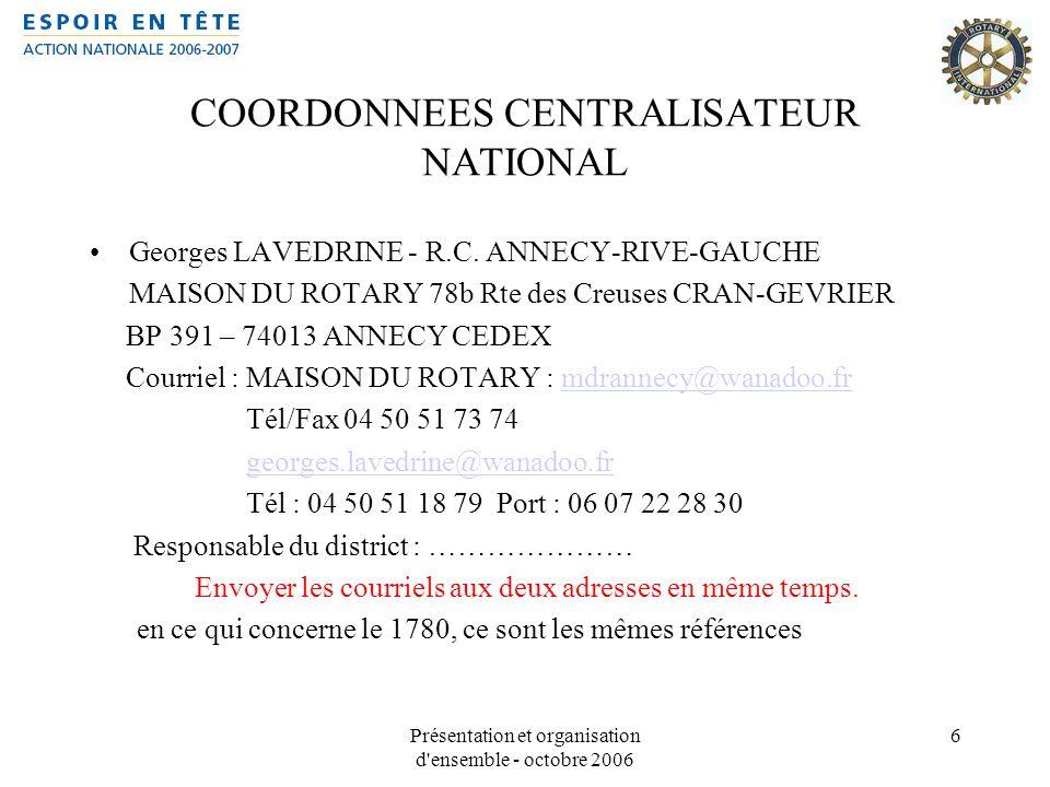 Présentation et organisation d'ensemble - octobre 2006 6 COORDONNEES CENTRALISATEUR NATIONAL Georges LAVEDRINE - R.C. ANNECY-RIVE-GAUCHE MAISON DU ROT