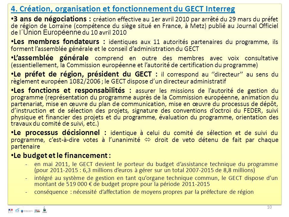 4. Création, organisation et fonctionnement du GECT Interreg 3 ans de négociations : création effective au 1er avril 2010 par arrêté du 29 mars du pré