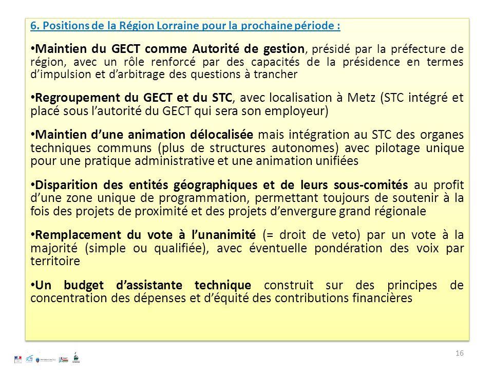 6. Positions de la Région Lorraine pour la prochaine période : Maintien du GECT comme Autorité de gestion, présidé par la préfecture de région, avec u