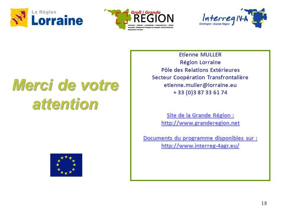 18 Etienne MULLER Région Lorraine Pôle des Relations Extérieures Secteur Coopération Transfrontalière etienne.muller@lorraine.eu + 33 (0)3 87 33 61 74