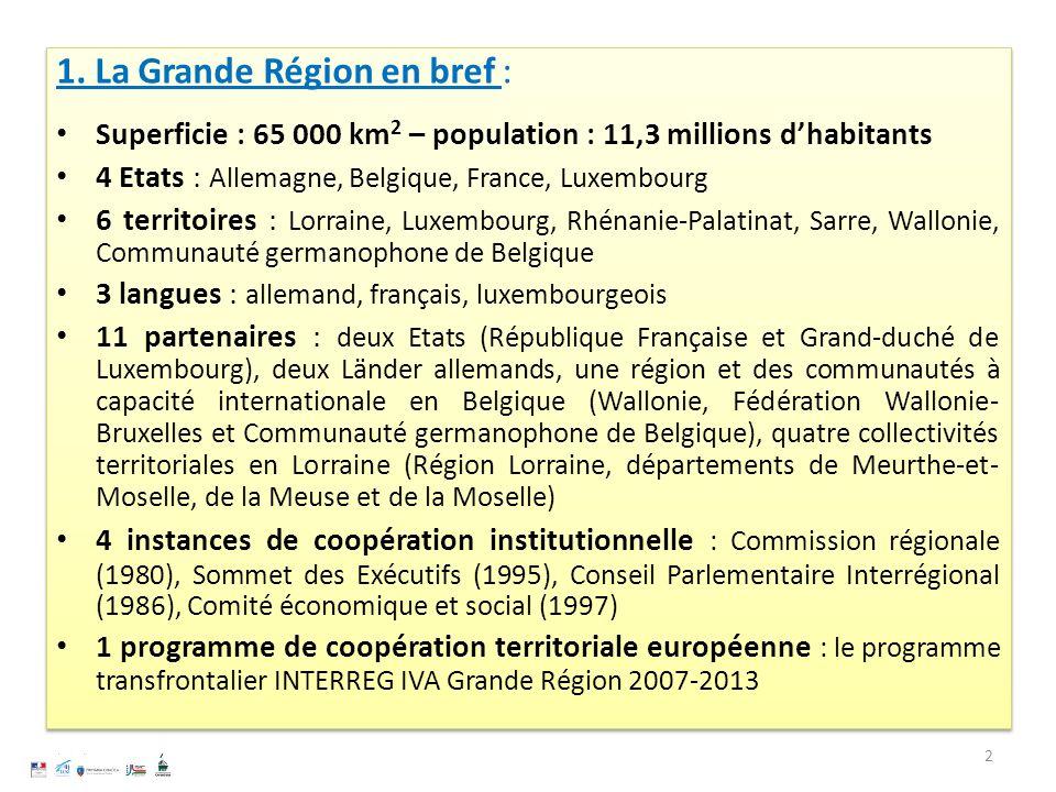 1. La Grande Région en bref : Superficie : 65 000 km 2 – population : 11,3 millions dhabitants 4 Etats : Allemagne, Belgique, France, Luxembourg 6 ter