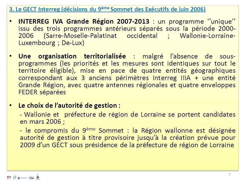 3. Le GECT Interreg (décisions du 9 ème Sommet des Exécutifs de juin 2006) INTERREG IVA Grande Région 2007-2013 : un programme unique issu des trois p