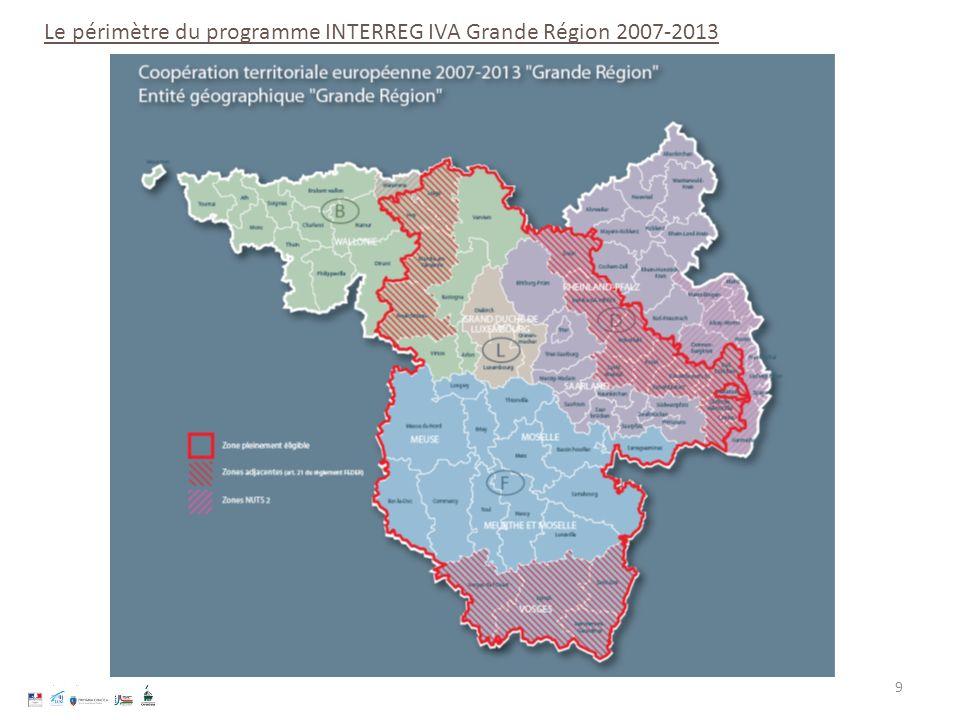 9 Le périmètre du programme INTERREG IVA Grande Région 2007-2013