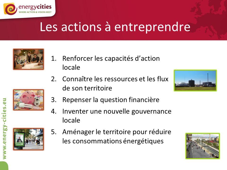 Les actions à entreprendre 1.Renforcer les capacités daction locale 2.Connaître les ressources et les flux de son territoire 3.Repenser la question fi