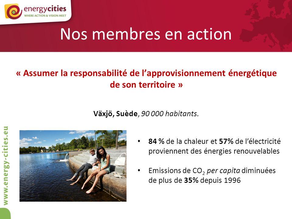 Nos membres en action « Assumer la responsabilité de lapprovisionnement énergétique de son territoire » Växjö, Suède, 90 000 habitants. 84 % de la cha