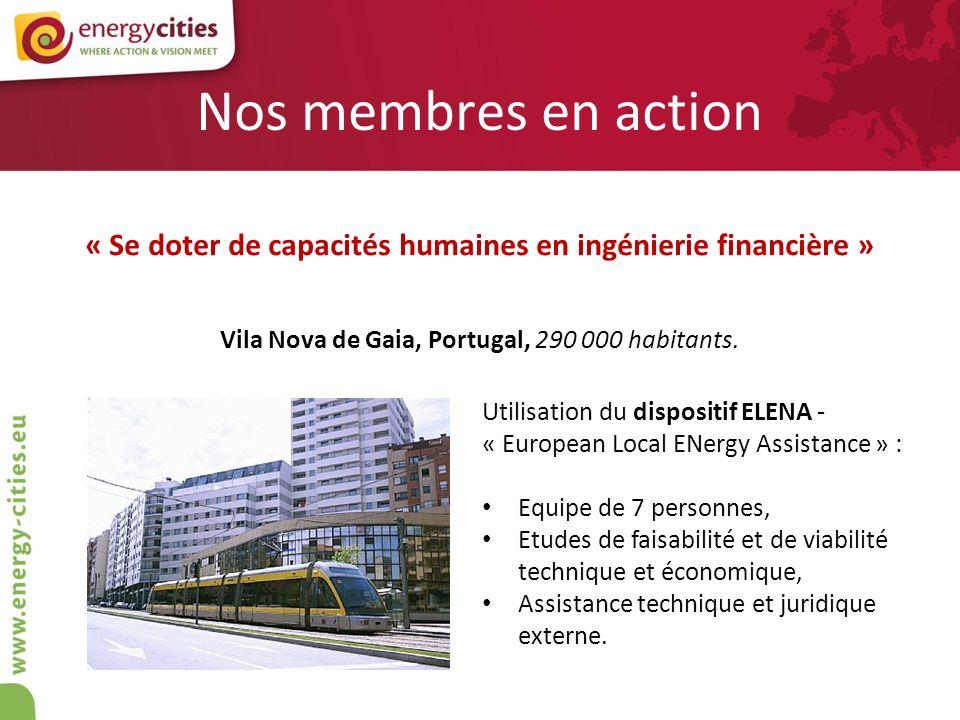 Nos membres en action « Se doter de capacités humaines en ingénierie financière » Vila Nova de Gaia, Portugal, 290 000 habitants. Utilisation du dispo