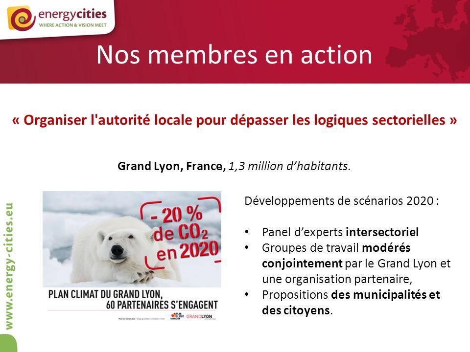 Nos membres en action « Organiser l'autorité locale pour dépasser les logiques sectorielles » Grand Lyon, France, 1,3 million dhabitants. Développemen