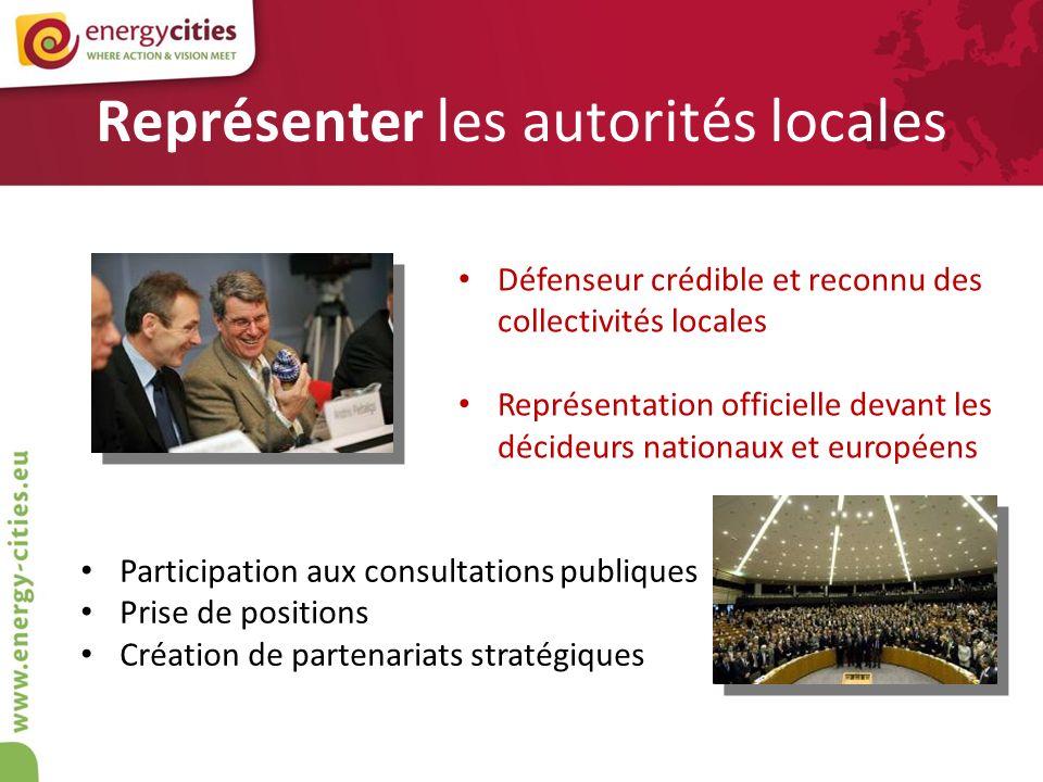 Représenter les autorités locales Défenseur crédible et reconnu des collectivités locales Représentation officielle devant les décideurs nationaux et