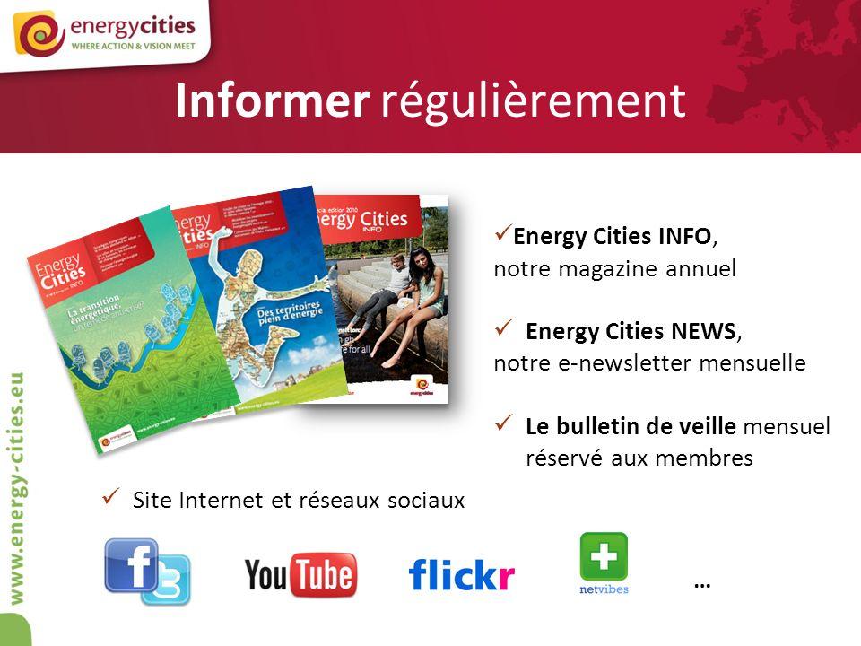 Informer régulièrement Energy Cities INFO, notre magazine annuel Energy Cities NEWS, notre e-newsletter mensuelle Le bulletin de veille mensuel réserv