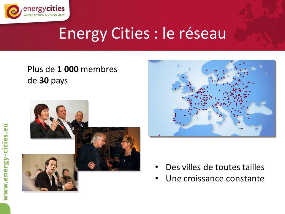 Energy Cities : le réseau Plus de 1 000 membres de 30 pays Des villes de toutes tailles Une croissance constante