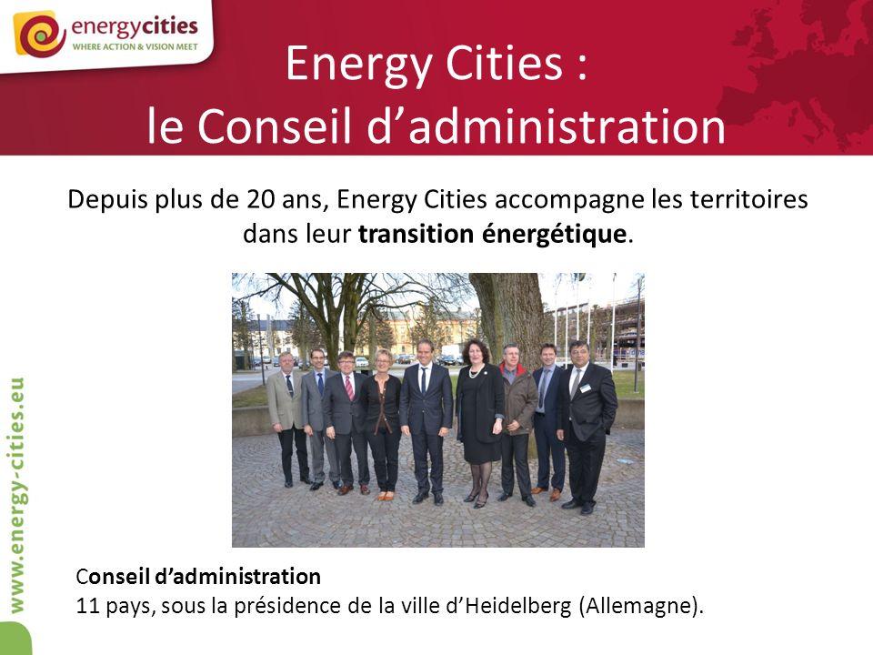 Energy Cities : le Conseil dadministration Conseil dadministration 11 pays, sous la présidence de la ville dHeidelberg (Allemagne). Depuis plus de 20