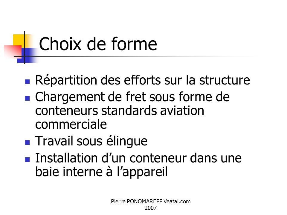 Pierre PONOMAREFF Veatal.com 2007 Choix de forme Répartition des efforts sur la structure Chargement de fret sous forme de conteneurs standards aviati