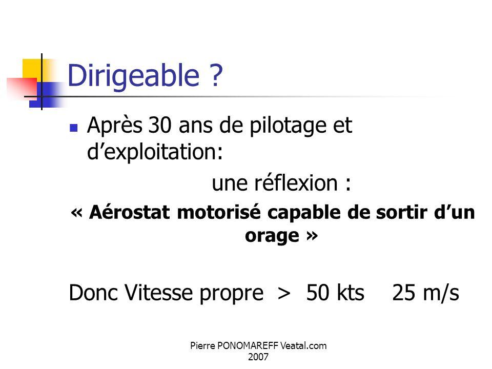 Pierre PONOMAREFF Veatal.com 2007 Dirigeable ? Après 30 ans de pilotage et dexploitation: une réflexion : « Aérostat motorisé capable de sortir dun or