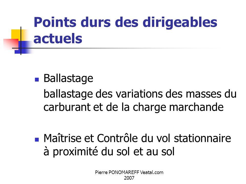 Pierre PONOMAREFF Veatal.com 2007 Points durs des dirigeables actuels Ballastage ballastage des variations des masses du carburant et de la charge mar