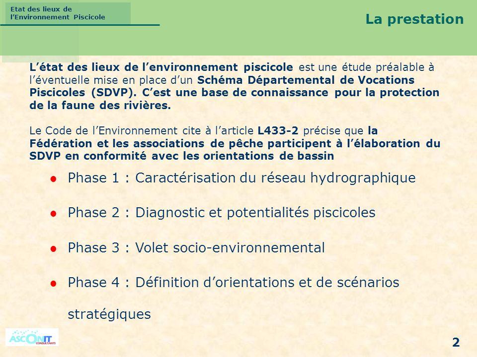 Etat des lieux de lEnvironnement Piscicole 2 La prestation Phase 1 : Caractérisation du réseau hydrographique Phase 2 : Diagnostic et potentialités pi