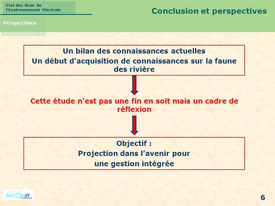 Etat des lieux de lEnvironnement Piscicole 6 Conclusion et perspectives Perspectives Un bilan des connaissances actuelles Un début d'acquisition de co