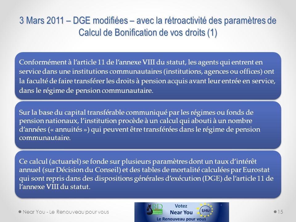 3 Mars 2011 – DGE modifiées – avec la rétroactivité des paramètres de Calcul de Bonification de vos droits (1) Conformément à larticle 11 de lannexe V