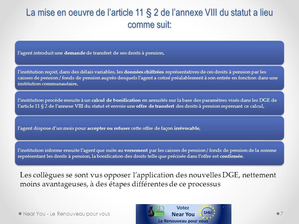 La mise en oeuvre de larticle 11 § 2 de lannexe VIII du statut a lieu comme suit: lagent introduit une demande de transfert de ses droits à pension, l