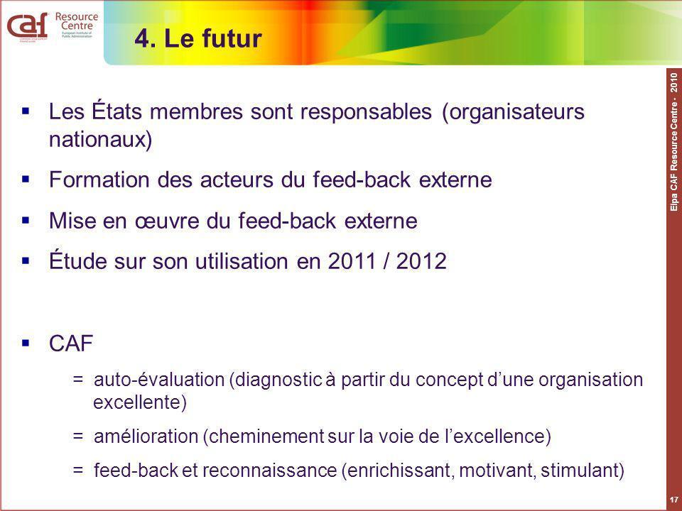 Eipa CAF Resource Centre - 2010 17 4. Le futur Les États membres sont responsables (organisateurs nationaux) Formation des acteurs du feed-back extern