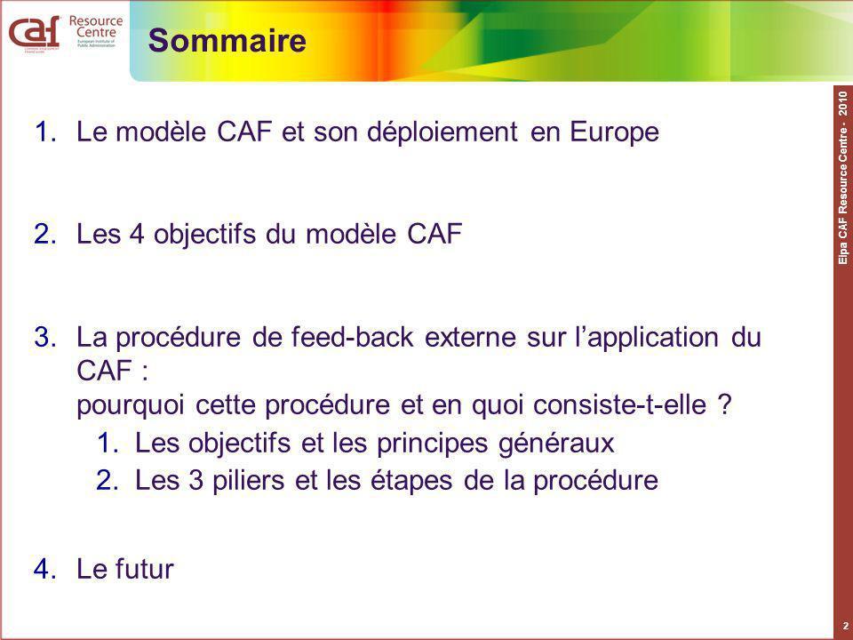 Eipa CAF Resource Centre - 2010 2 Sommaire 1.Le modèle CAF et son déploiement en Europe 2.Les 4 objectifs du modèle CAF 3.La procédure de feed-back ex
