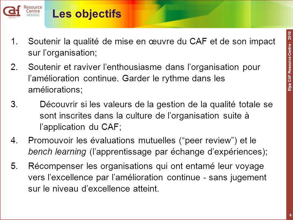 Eipa CAF Resource Centre - 2010 9 Les principes généraux Cadre commun européen à mettre en œuvre en fonction du contexte national et sur une base volontaire ; Feed-back sur la mise en œuvre du CAF et son impact sur lorganisation ; Assuré par des pairs et/ou des experts extérieurs; Conduit à la délivrance du label de lUtilisateur CAF efficace (ECU- Effective CAF User) pour une durée de 2 ans.