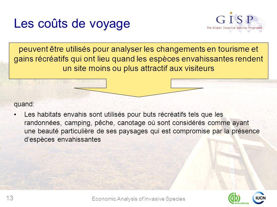 Economic Analysis of Invasive Species 13 Les coûts de voyage peuvent être utilisés pour analyser les changements en tourisme et gains récréatifs qui o