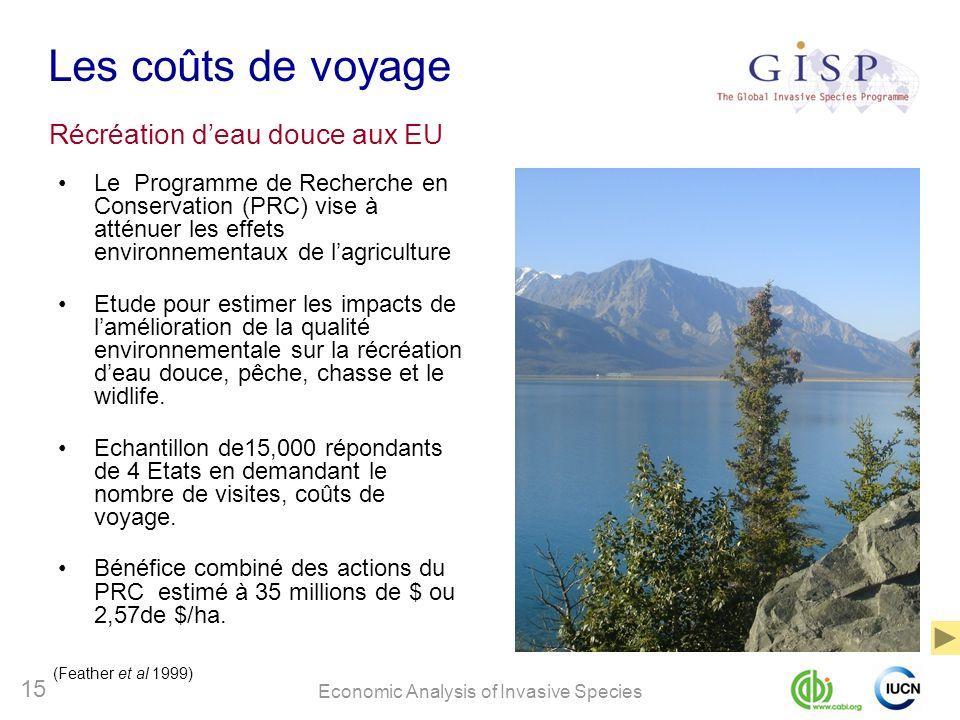 Economic Analysis of Invasive Species 15 Les coûts de voyage Le Programme de Recherche en Conservation (PRC) vise à atténuer les effets environnementa