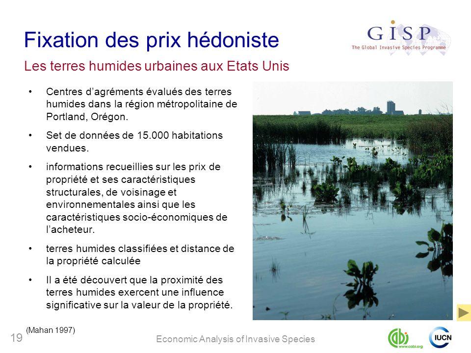Economic Analysis of Invasive Species 19 Fixation des prix hédoniste Centres dagréments évalués des terres humides dans la région métropolitaine de Po