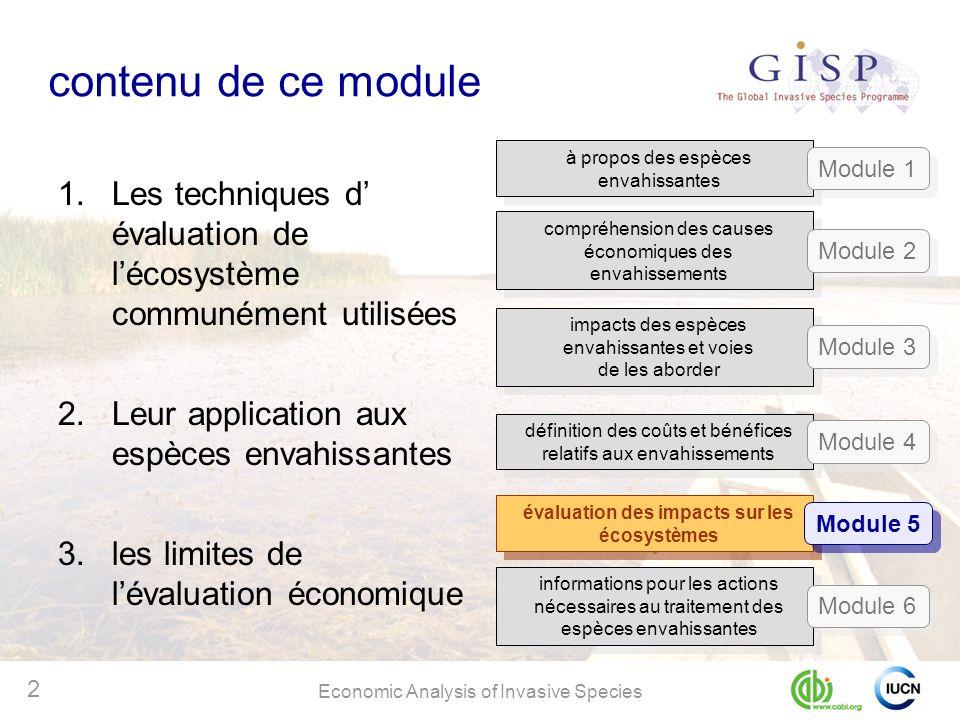 Economic Analysis of Invasive Species 2 contenu de ce module 1.Les techniques d évaluation de lécosystème communément utilisées 2.Leur application aux