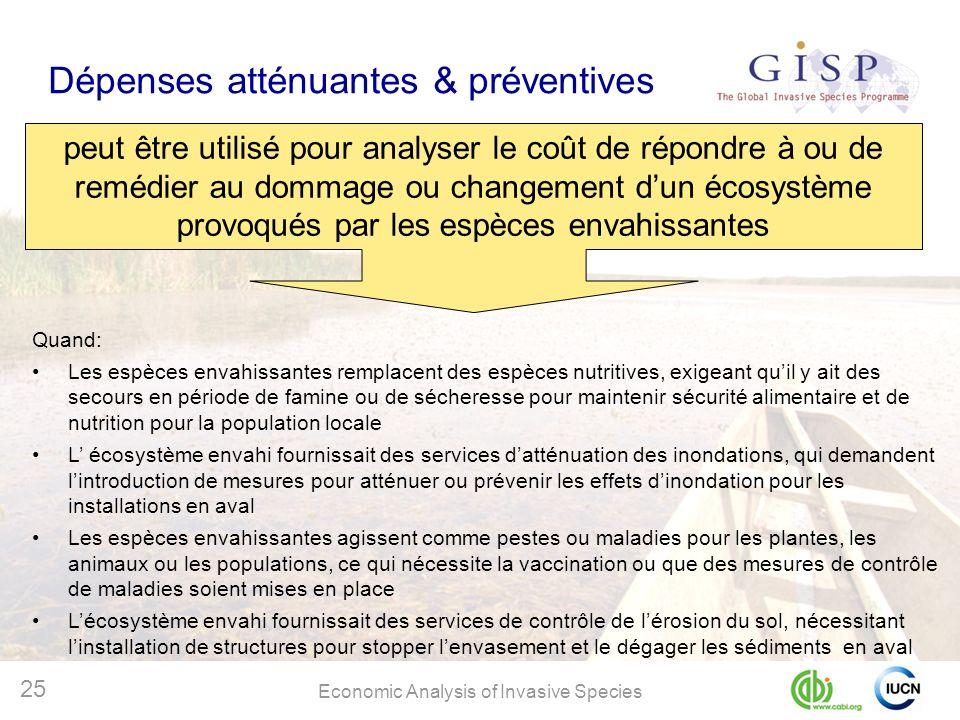 Economic Analysis of Invasive Species 25 Dépenses atténuantes & préventives peut être utilisé pour analyser le coût de répondre à ou de remédier au do
