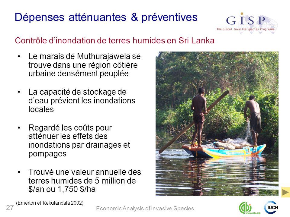 Economic Analysis of Invasive Species 27 Dépenses atténuantes & préventives Le marais de Muthurajawela se trouve dans une région côtière urbaine densé