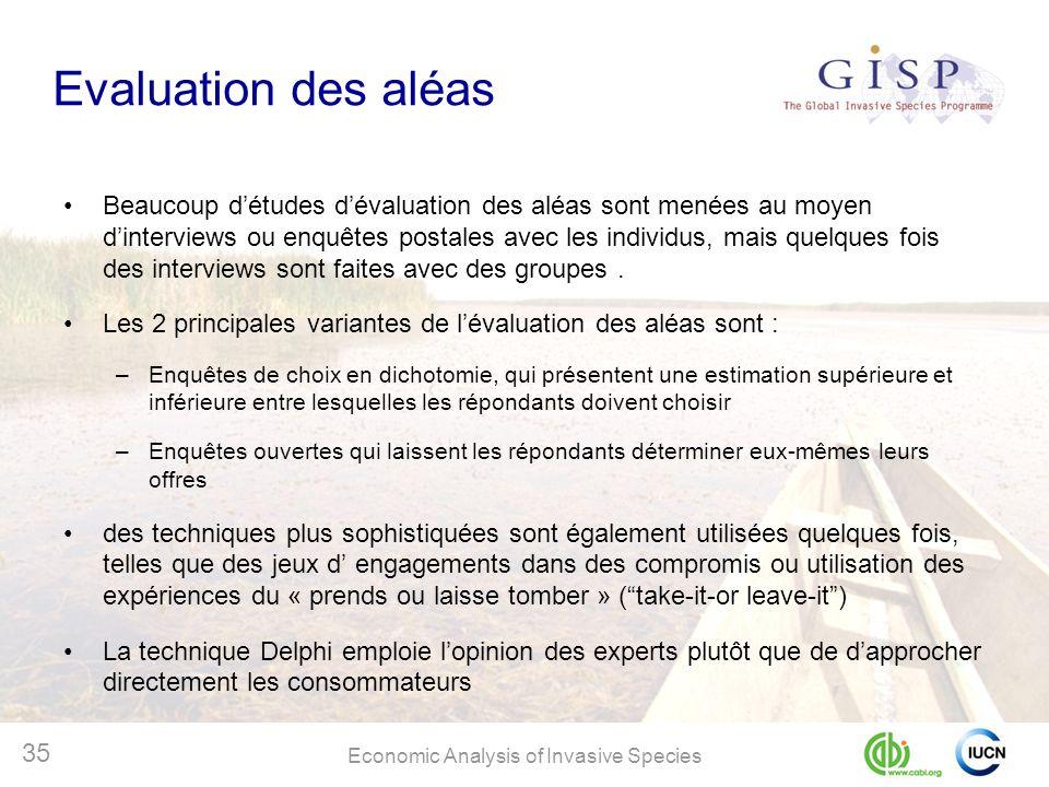 Economic Analysis of Invasive Species 35 Evaluation des aléas Beaucoup détudes dévaluation des aléas sont menées au moyen dinterviews ou enquêtes post