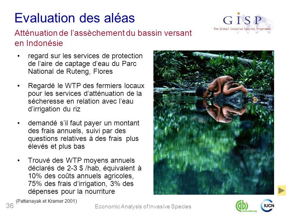 Economic Analysis of Invasive Species 36 Evaluation des aléas regard sur les services de protection de laire de captage deau du Parc National de Ruten
