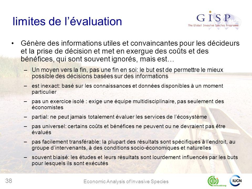 Economic Analysis of Invasive Species 38 limites de lévaluation Génère des informations utiles et convaincantes pour les décideurs et la prise de déci