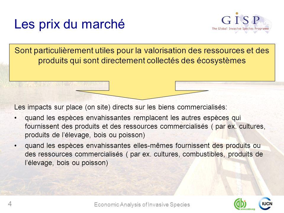 Economic Analysis of Invasive Species 4 Les prix du marché Sont particulièrement utiles pour la valorisation des ressources et des produits qui sont d