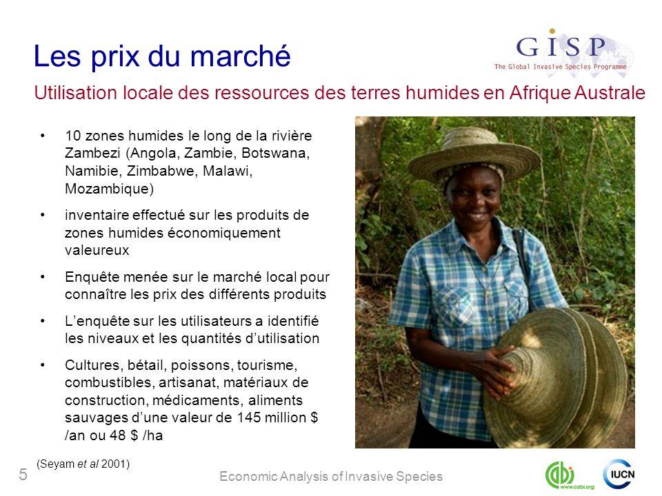 Economic Analysis of Invasive Species 5 Les prix du marché 10 zones humides le long de la rivière Zambezi (Angola, Zambie, Botswana, Namibie, Zimbabwe