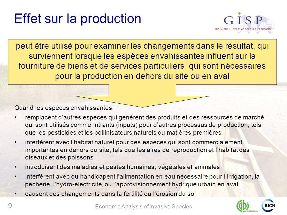 Economic Analysis of Invasive Species 9 Effet sur la production peut être utilisé pour examiner les changements dans le résultat, qui surviennent lors