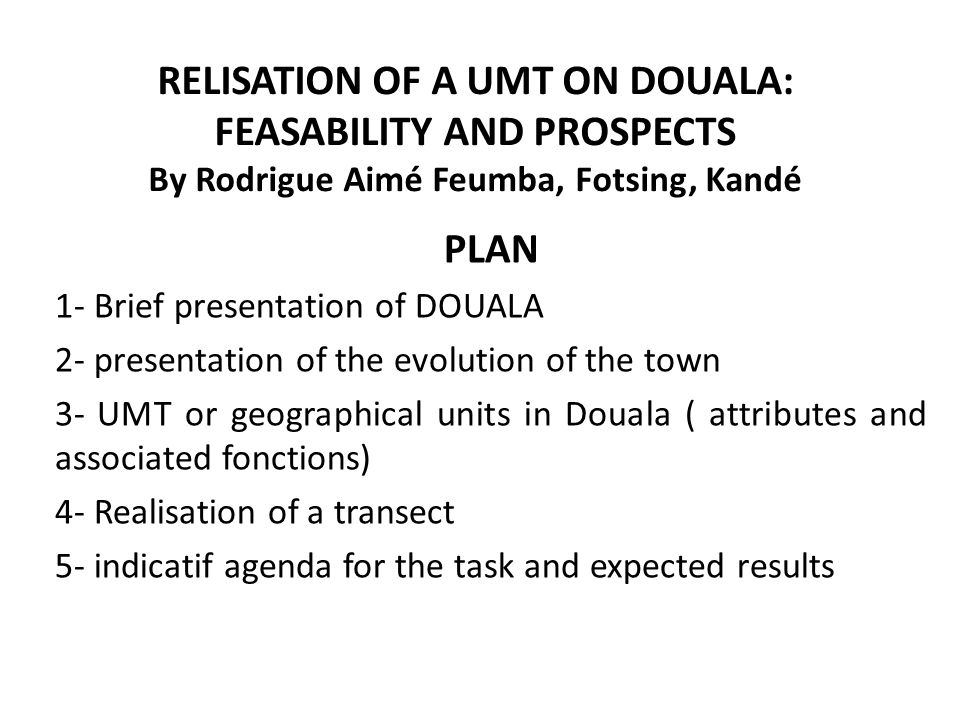 3- UMT or geographical units in Douala ( attributes and associated fonctions) -Port area ( 1000 ha) -Industrial areas -Administratif zone -Planned residentials areas -Unplanned, informal or sponteneous residential areas ( 35%) -markets, -Other Publics places (stadia…) -Mangroves -Forest ( relics or surrounding) -Cultivated parcels ( to provide food and incomes…) -Green spaces/parks ( put in place and preserve by the local governance autirity) -Transports infrastructures: roads, rail ways, bridges ( 1 km) -River Wouri, scanty water -Sand ( plages) -Poubelles sauvages ( tas dordures)