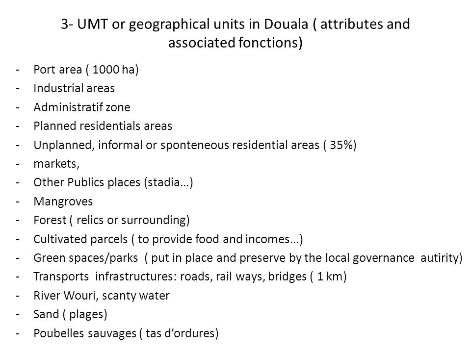 3- UMT or geographical units in Douala ( attributes and associated fonctions) -Port area ( 1000 ha) -Industrial areas -Administratif zone -Planned res