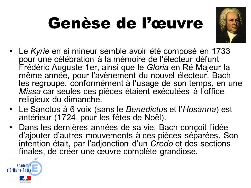 Genèse de lœuvre Le Kyrie en si mineur semble avoir été composé en 1733 pour une célébration à la mémoire de lélecteur défunt Frédéric Auguste 1er, ai
