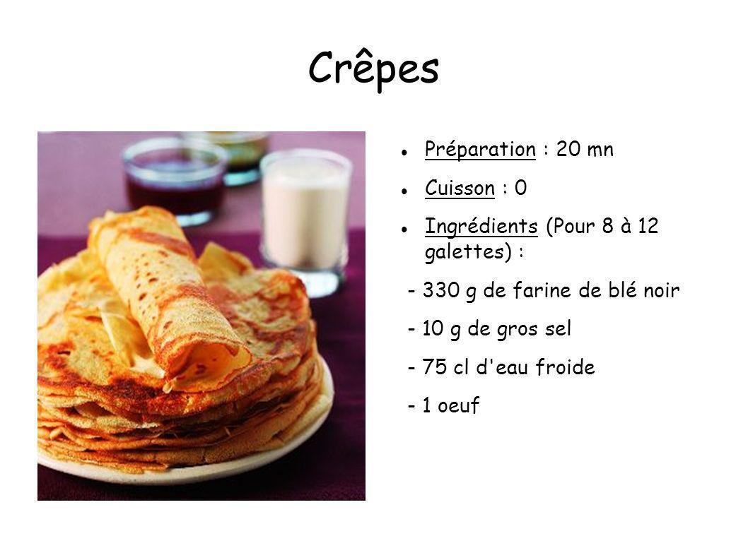Crêpes Préparation : 20 mn Cuisson : 0 Ingrédients (Pour 8 à 12 galettes) : - 330 g de farine de blé noir - 10 g de gros sel - 75 cl d'eau froide - 1