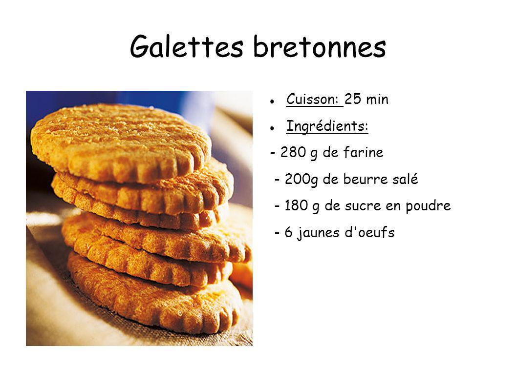 Galettes bretonnes Cuisson: 25 min Ingrédients: - 280 g de farine - 200g de beurre salé - 180 g de sucre en poudre - 6 jaunes d'oeufs