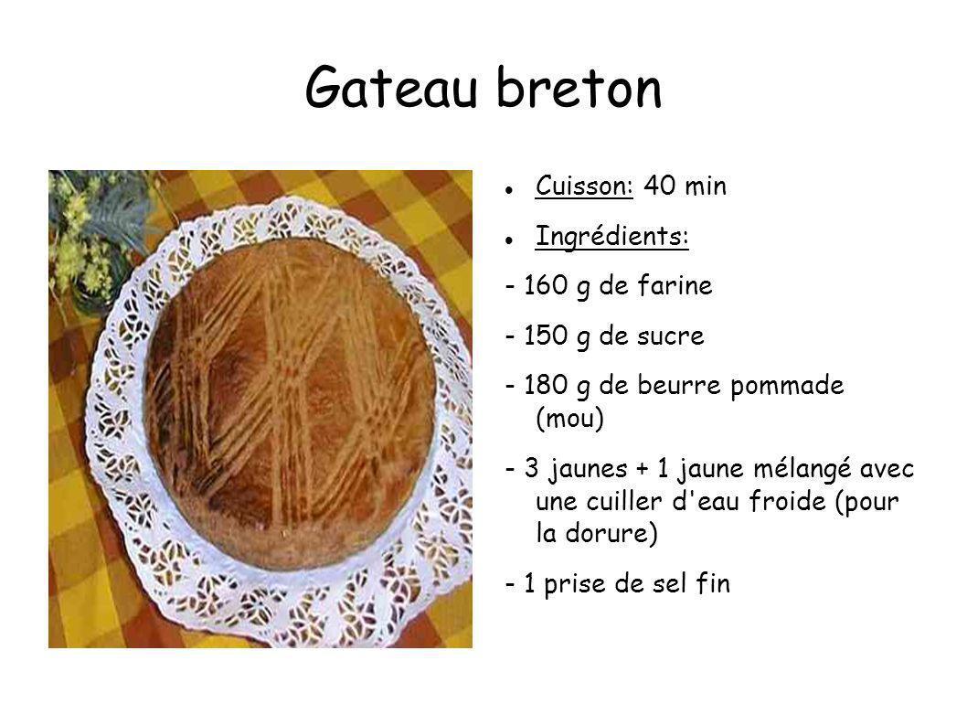 Gateau breton Cuisson: 40 min Ingrédients: - 160 g de farine - 150 g de sucre - 180 g de beurre pommade (mou) - 3 jaunes + 1 jaune mélangé avec une cu