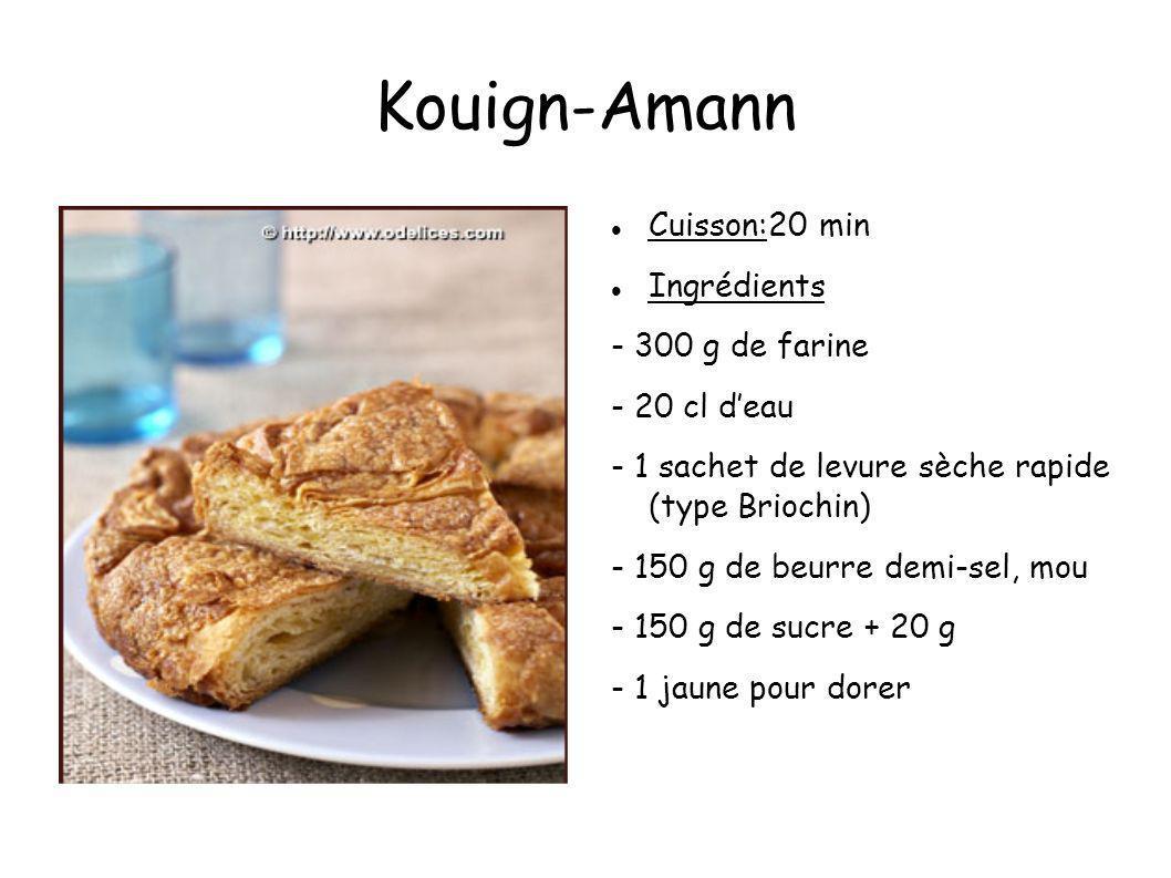Kouign-Amann Cuisson:20 min Ingrédients - 300 g de farine - 20 cl deau - 1 sachet de levure sèche rapide (type Briochin) - 150 g de beurre demi-sel, m